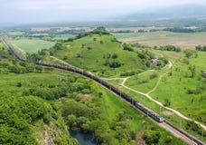 Treno con carbone. Vista da sopra. Fotografia Stock Libera da Diritti