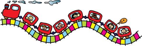 Treno con i bambini Immagine Stock