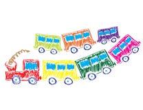 Treno con le automobili multicolori Fotografia Stock Libera da Diritti