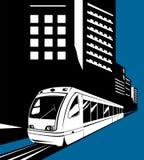 treno con le costruzioni illustrazione di stock