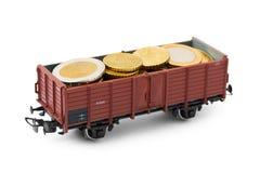 Treno con soldi Fotografie Stock Libere da Diritti