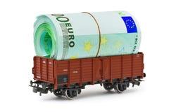 Treno con soldi Immagini Stock Libere da Diritti