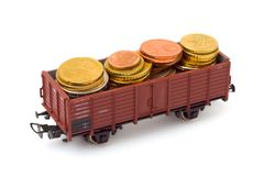 Treno con soldi Fotografie Stock