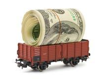 Treno con soldi Fotografia Stock Libera da Diritti