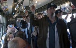 Treno d'annata di bassa tensione di giro di fan delle yankee allo stadio per openin Fotografie Stock Libere da Diritti
