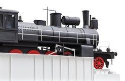 Treno d'annata nero del giocattolo Fotografie Stock Libere da Diritti