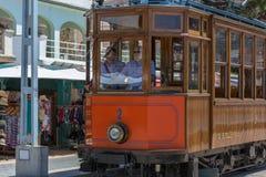 Treno d'annata, tram in Port de Soller, Mallorca Immagine Stock