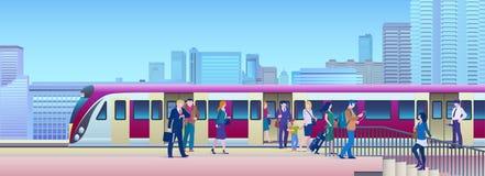 Treno d'imbarco alla stazione ferroviaria con la città sull'illustrazione piana di vettore del fondo La gente sale il treno dal b fotografia stock