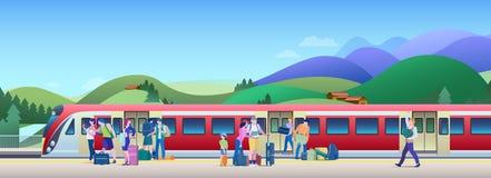 Treno d'imbarco alla stazione ferroviaria con le colline sull'illustrazione piana di vettore del fondo La gente sale il treno dal fotografia stock libera da diritti