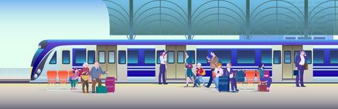 Treno d'imbarco alla stazione ferroviaria - fondo piano dell'illustrazione di vettore La gente sale il treno dal binario immagini stock