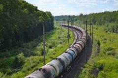 Treno dei vagoni cisterna Immagine Stock