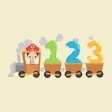 Treno del bambino con 123 Fotografia Stock Libera da Diritti