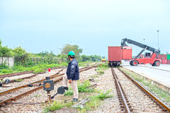 Treno del container Fotografie Stock