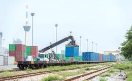Treno del container Fotografia Stock Libera da Diritti
