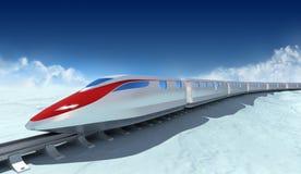 Treno del futuro con le nubi sui precedenti illustrazione di stock