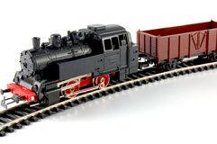 Treno del giocattolo e vagone del trasporto Immagine Stock Libera da Diritti