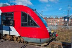 Treno del residuo di stoffa 41 alla stazione ferroviaria di Slagelse fotografia stock
