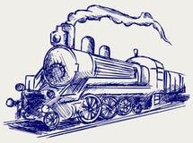 Treno del vapore con fumo Immagine Stock Libera da Diritti