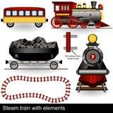 Treno del vapore con gli elementi Immagini Stock