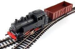 Treno del vapore del giocattolo e vagone del trasporto Fotografia Stock Libera da Diritti