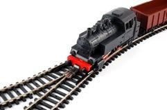 Treno del vapore del giocattolo e vagone del trasporto Fotografie Stock
