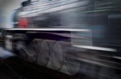 Treno del vapore della sfuocatura di movimento Fotografie Stock Libere da Diritti