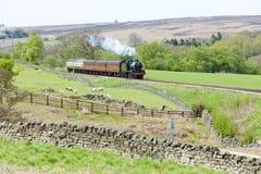 Treno del vapore, Inghilterra Fotografie Stock