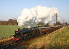 Treno del vapore nella campagna inglese Immagini Stock