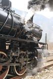 Treno del vapore sul treno della ferrovia un vapore Fotografia Stock
