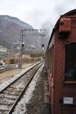 Treno del vapore sulla ferrovia Immagini Stock Libere da Diritti