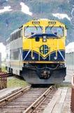 Treno dell'Alaska che viene a Whittier Fotografia Stock