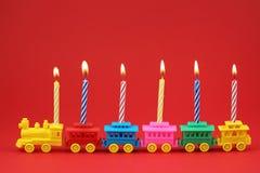 Treno della candela di compleanno Fotografie Stock Libere da Diritti