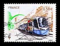 Treno della città di Mulhouse, serie, circa 2011 Fotografie Stock