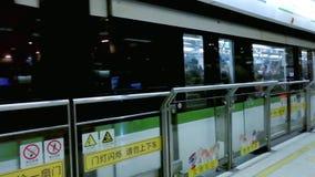 Treno della metropolitana di Shanghai stock footage