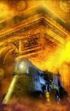 Treno della via di Steampunk Fotografie Stock Libere da Diritti