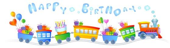 Treno di buon compleanno Immagini Stock Libere da Diritti
