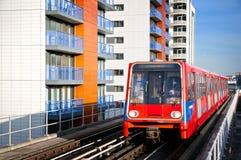 Treno di DLR, Londra. Immagine Stock