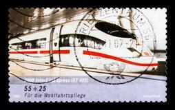 Treno di Intercityexpress, benessere: Treni nel serie della Germania, circa 2006 Immagine Stock