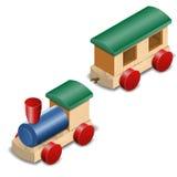 Treno di legno del giocattolo isolato su bianco Immagini Stock Libere da Diritti