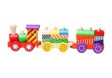 Treno di legno del giocattolo per i bambini Fotografia Stock Libera da Diritti