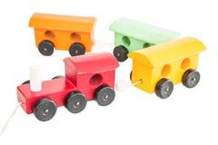 Treno di legno variopinto del giocattolo Fotografia Stock