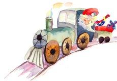 Treno di Natale con il Babbo Natale Fotografia Stock Libera da Diritti