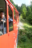 Treno di Pilatus, la ferrovia della ruota dentata più ripida del mondo Fotografia Stock Libera da Diritti