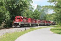 Treno di RJ Corman un giorno di estate Fotografia Stock