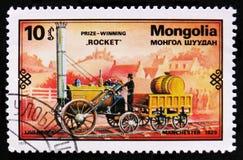 Treno di Rocket, 1829, retro serie dei treni, circa 1979 Immagine Stock Libera da Diritti