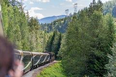 Treno di Rocky Mountaineer che attraversa through Rocky Mountains fotografie stock