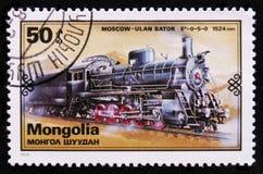 Treno di Ulan Bator - di Mosca, retro serie dei treni, circa 1979 Fotografie Stock