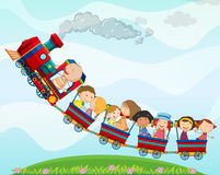 Treno e bambini Immagini Stock