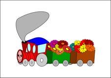 Treno e fiori Fotografia Stock Libera da Diritti