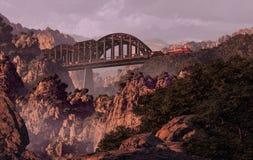 Treno e ponticello sopra il canyon nel sud-ovest Immagini Stock Libere da Diritti